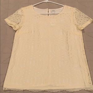 NWT JCrew Factory cream lace top in Size 0